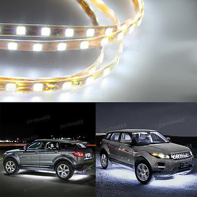 4pcs 6000k White Led Strip Under Car Underglow Underbody