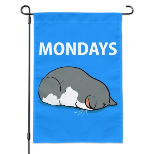 Mondays Cat Sleepy Tired Sleeping Work Garden Yard Flag