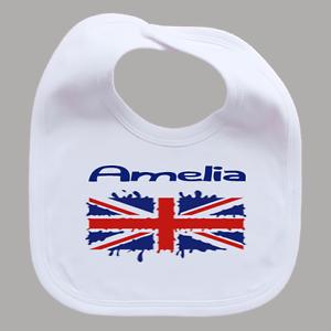 Personalised Melting Union Jack Baby Feeding Bib Named Girl Boy British Flag
