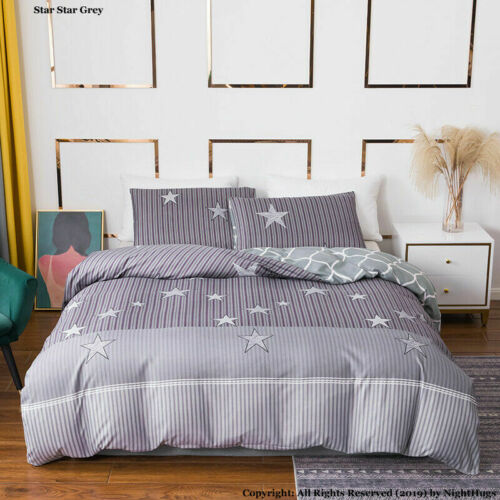 Single Double King Super King Size Reversible Duvet Cover Set With Pillow Cases