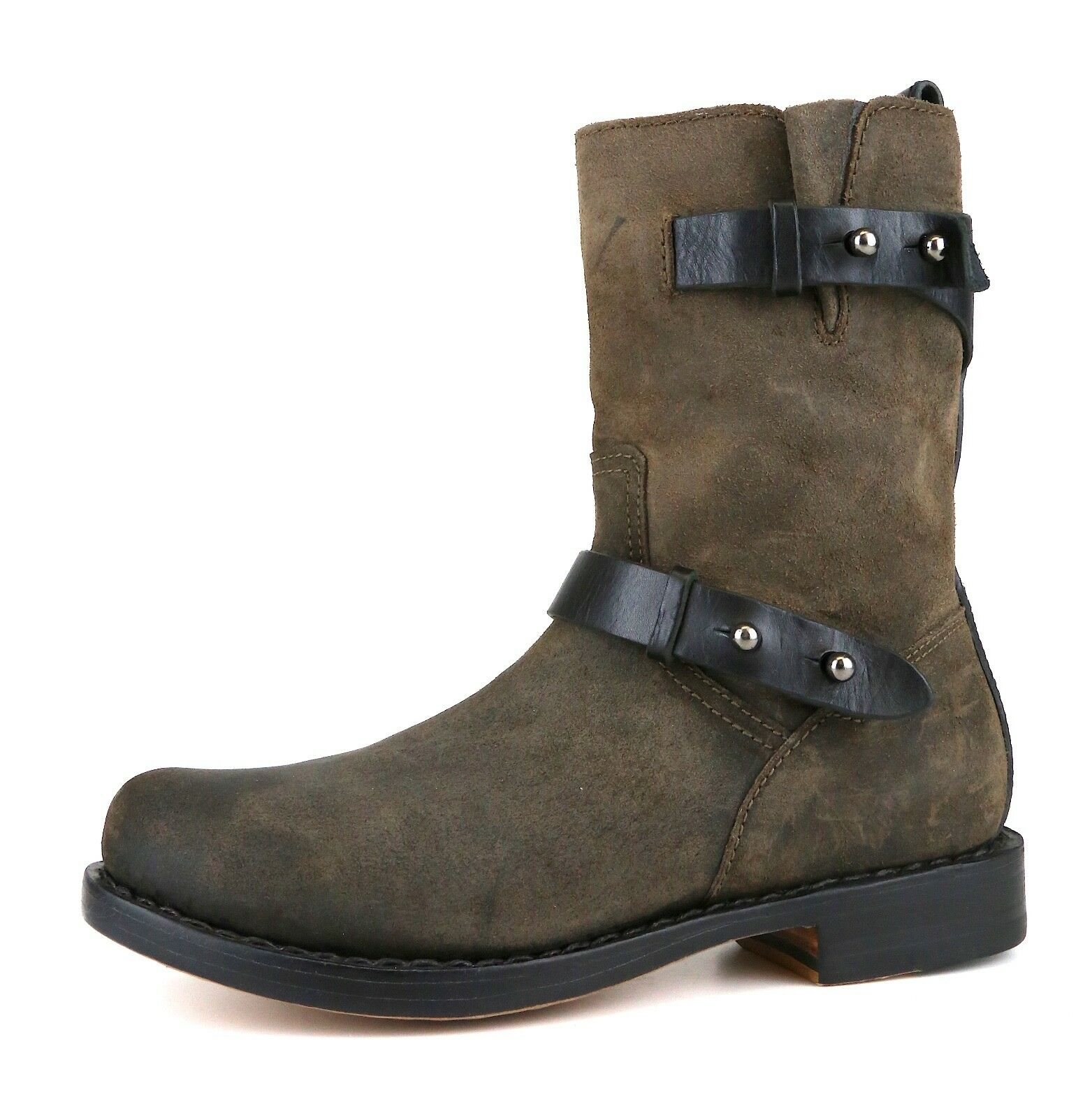 Rag & Bone Women's Brown Moto Waxed Calfskin Ankle Boots 5252 Sz 36.5 EUR