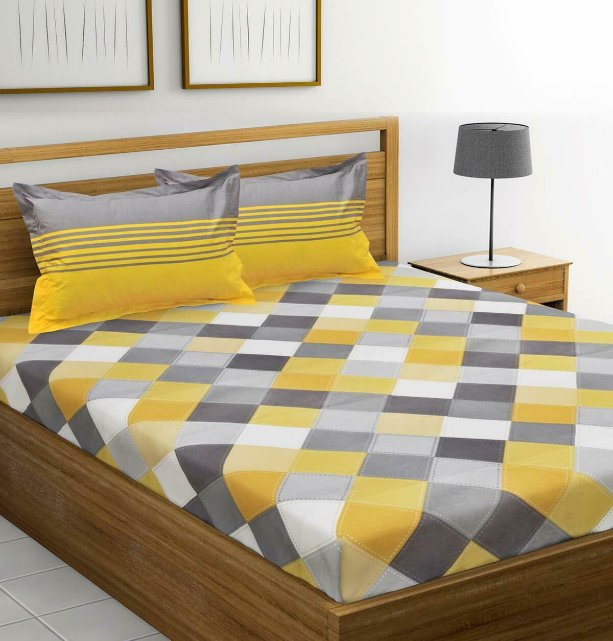 Bedsheet 2 Pillow Covers 100% Cotton Double with - Yellow and Grey Double Bed