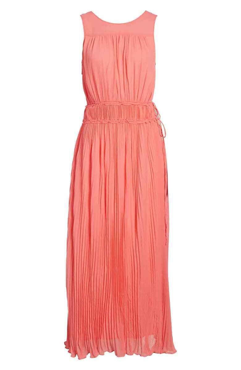 NEW Lewit Pleated Crinkle Silk Maxi Dress Pink Coral Sleeveless Grecian Sz 14