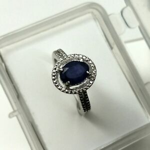 Claw-Ring-Natural-Blue-Sapphire-Gemstone-Oval-Sterling-Silver-925-Ring-Size-No-7