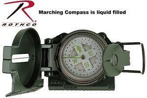 Army OD Green Military Style Liquid Filled Lensatic Marching Compass 406 Rothco