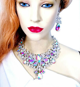 Choker-Bib-Necklace-Earring-Set-Rhinestone-Crystal-AB