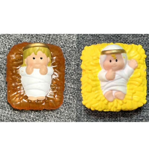 YELLOW Fisher Price Little People Square Baby Jesus FIGURE GIFT  FIGURE #K1