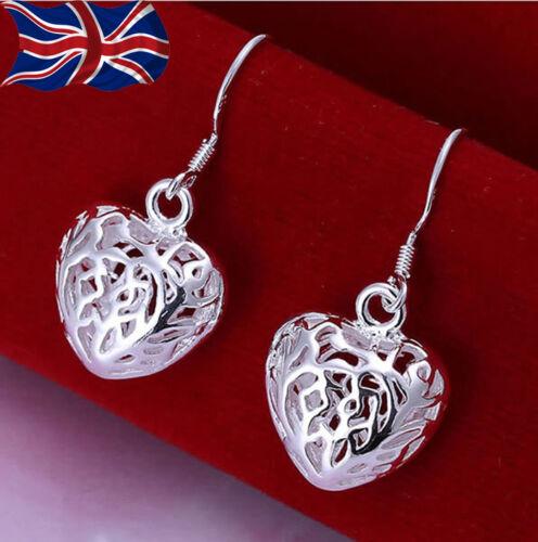 925 Chapado en Plata De Ley Filigrana Corazón Pendientes Colgantes Amor Brillante UK