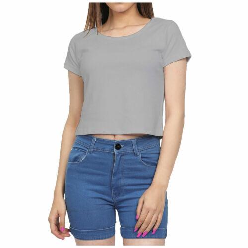 Kids Girls Cap-Sleeve Crew Casual Jumper Viscose Comfortable CROPPED T-Shirt