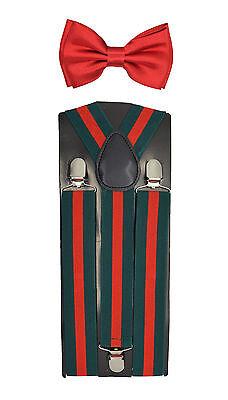 "35mm Wide Mens Adjustable Braces Matching /""Red/"" Suspender /& Bow tie Set"