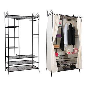 metall kleiderschrank mit vorhang faltschrank garderobeschrank schrank rtg04h ebay. Black Bedroom Furniture Sets. Home Design Ideas