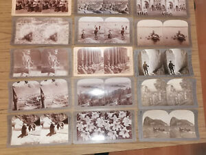Sammlung ca. 65 Stereo/Raumbild Fotos im Etui, um 1900