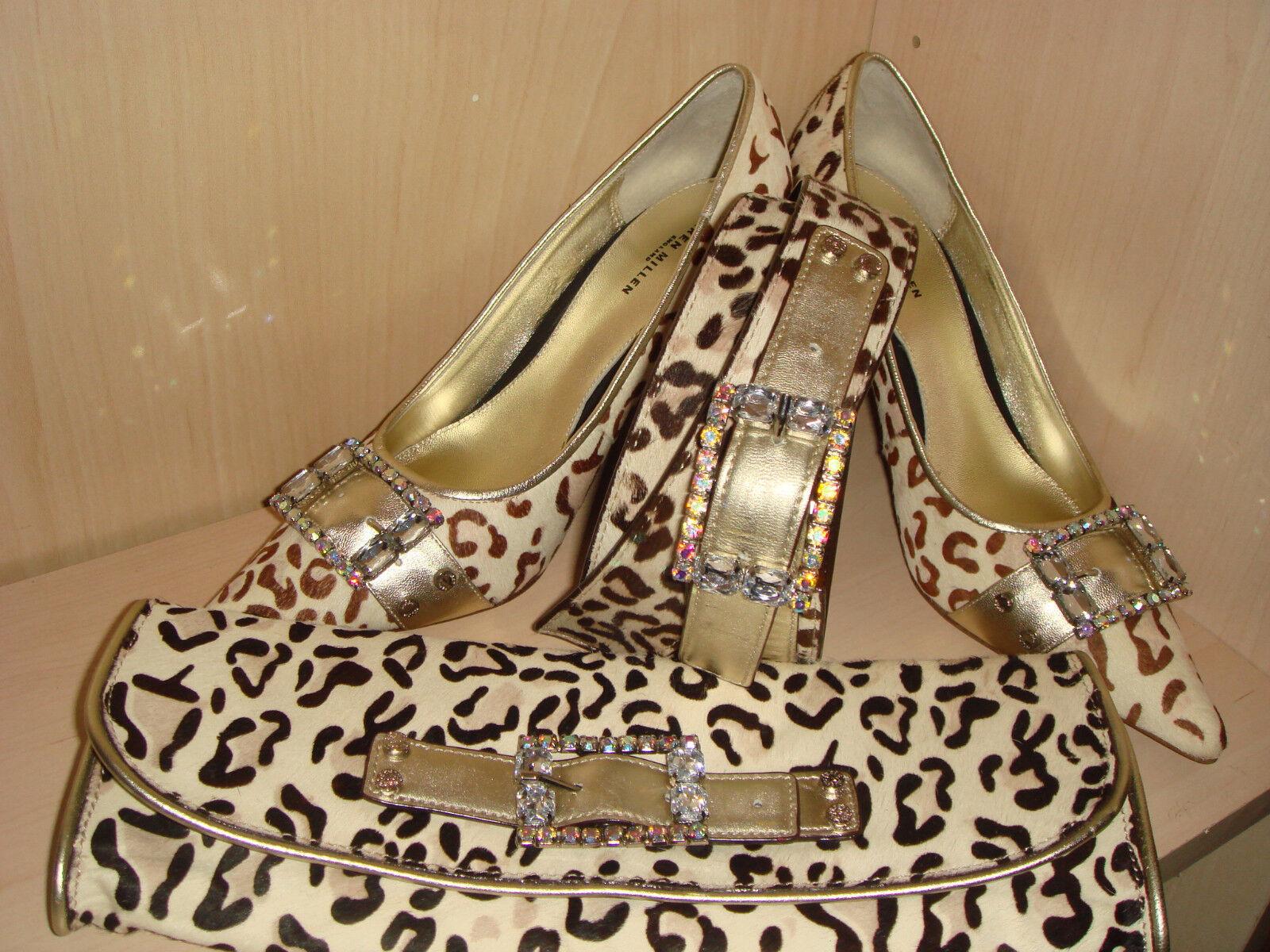 Karen Millen Snow Leopard ponyskin Leder Jeweled buckle Schuhes 41/7