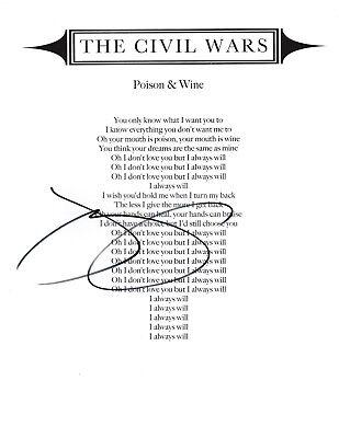 Music Motivated Civil Wars Singer Joy Williams Signed Poison & Wine Lyric Sheet W/coa Band