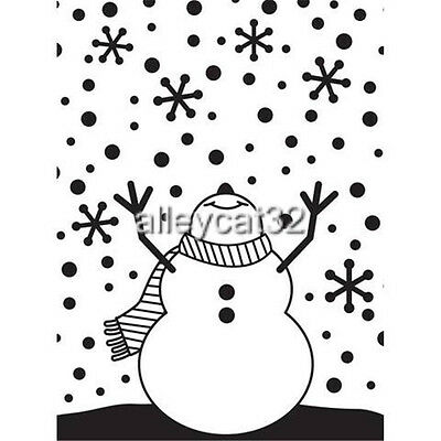 Darice Embossing Folder SNOWMAN Raised Hands Arms Up  Snowflakes   A2 1216-65