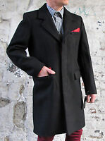 Mens Black Wool Coat Vintage Mod Skinhead 3/4 Length Long Line Overcoat Cromby