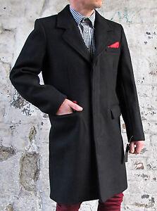 Long black wool overcoat