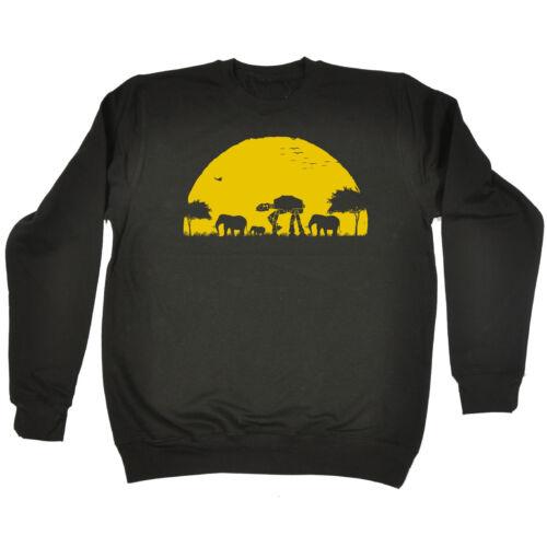 Elephant ATAT Sunset SWEATSHIRT animal funny geek birthday gift fashion