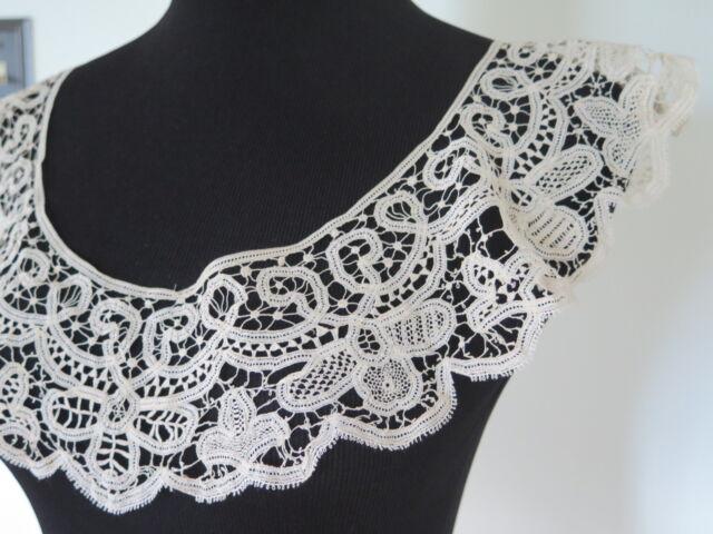 Antique Vtg Victorian French Battenburg Handmade Tape Lace Large Collar Flounce