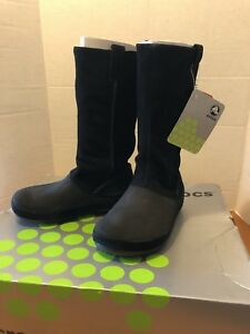 6f5fedb72a Image is loading Crocs-Berryessa-Black-Suede-Tall-Boots-Size-W4