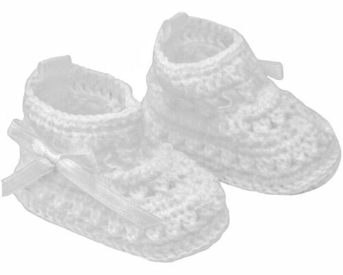 New Crochet Baby Bootees White Satin Bows Shower Gift Boy Girl Unisex Soft Touch