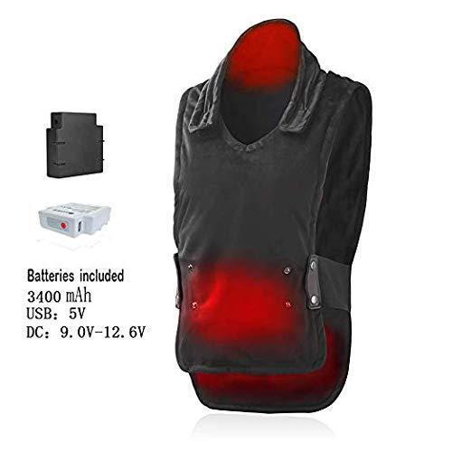 Chaleco de calefacción ajustable multi-función Alivio del Dolor Unisex Chaleco 140 ℉, 2 Baterías