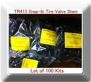 Lot 100 TR 413 Snap-In Black Rubber Tire Valve Stems Short Most Popular Valve