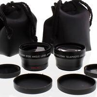 Wide Angle + Tele Lens Kit 37mm For Sony Hdr-hc1,sr11,sr12,hc7, Hvr-a1, Dcr-sx45