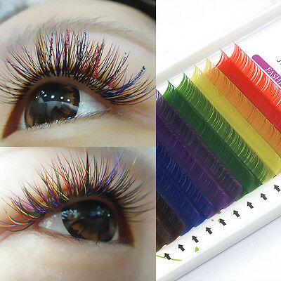 8-12mm Rainbow Curl Individual Eyelash Extension Colorful False Eyelashes 0.1mm