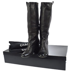 Authentic-CHANEL-Vintage-CC-Logos-Long-Boots-Black-Leather-36-1-2-C-NR10441b
