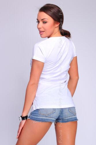 Casual t-shirt blanc manches courtes imprimé Paris à encolure ras-du-cou Tailles 8-12 fb134