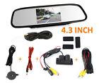 "HD Backup Camera & Radar Sensor+4.3""Car Reverse Rear View Mirror Display Monitor"