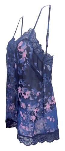 Ladies Floral Light Nightwear Camisole Cami and Knickers Set with Lace Briefs