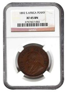 1892-South-Africa-Zuid-Afrika-Kruger-Penny-NGC-XF-45-BN-Great-Coin-XF45BN