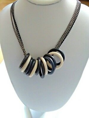 Jewellery & Watches Black Triple Chained Necklace With Multi Ring Detailing Reduced!!