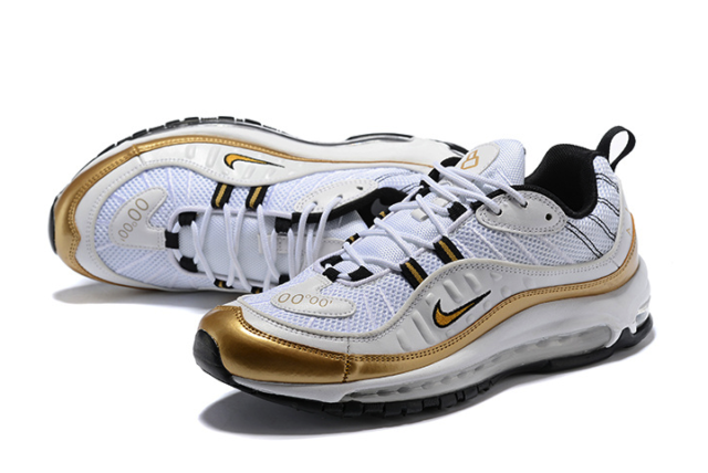 Nike Air Max 98 GMT Summit White Metallic Gold Prime Meridian Mens Aj6302 100 UK 9 US 10 EUR 44 28cm