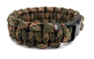 Wrist Band Bracelet buckle BLACK + CAMO STITCH Tactical 550 Paracord