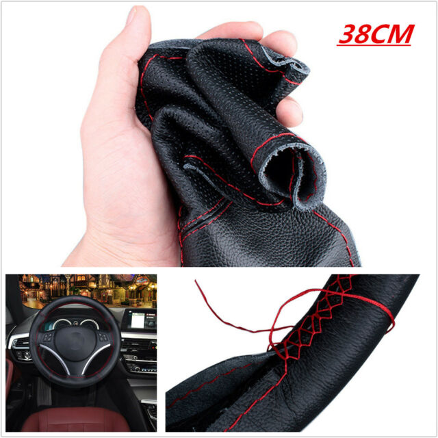 DIY Red Black PU Leather Car Steering Wheel Cover Protector w/ Needle and Thread