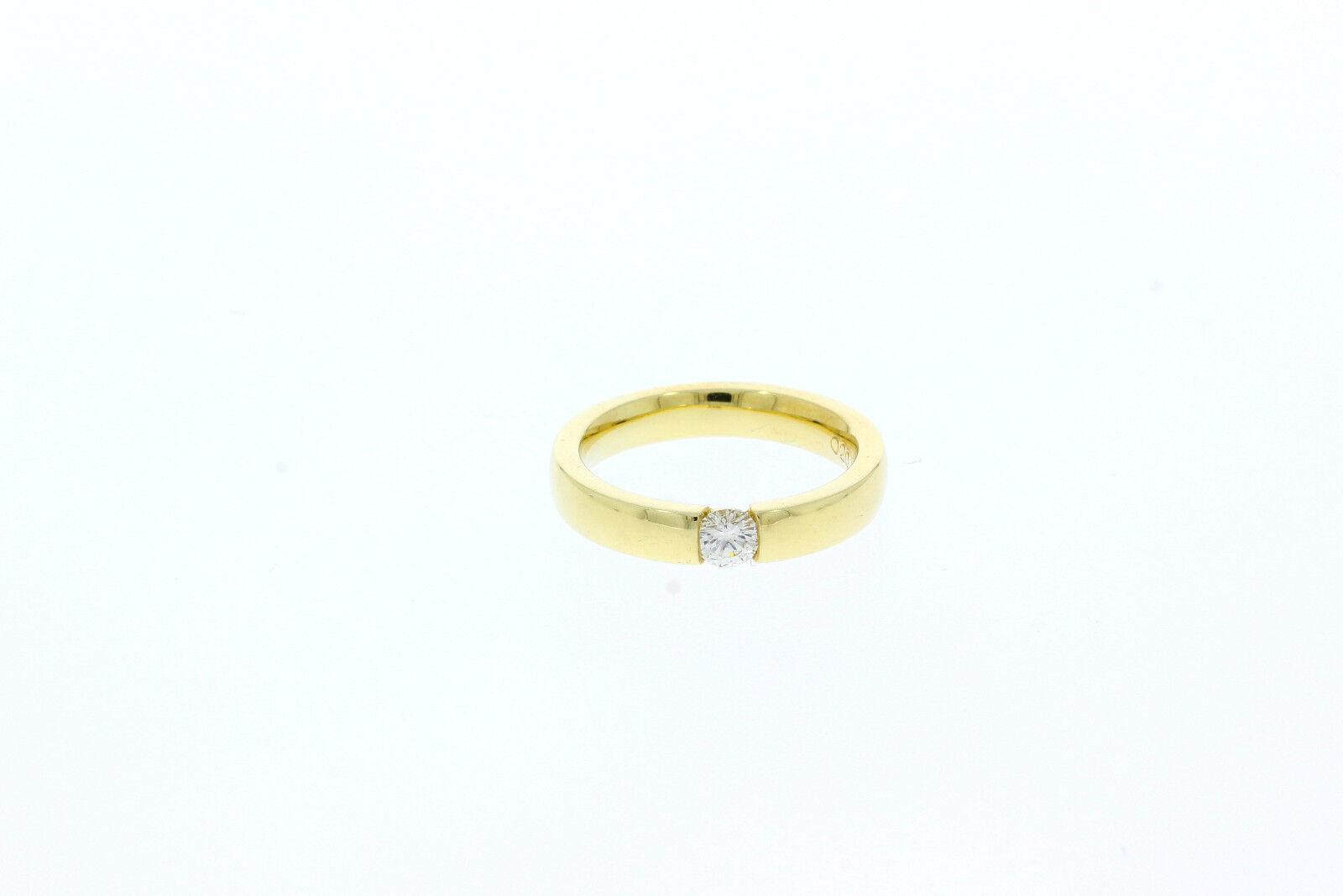 A0110-585er yellowgold Eherinring mit Brilliant ca. 0,20 ct R G 52 breit 3,75 mm