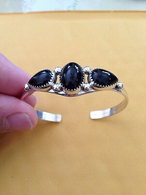Native American Navajo Bracelet Black Onyx Cluster Cuff Philip Yazzie Bangle #2