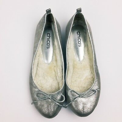 Chicos Shoes Size 9 Fur Lined Ballet Flats Silver Bow