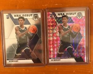 Lot-2-Ja-Morant-2019-20-Mosaic-Pink-Camo-amp-NBA-Debut-Base-Rookie-274-ROY