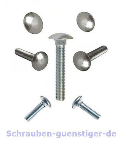 Schloß-Schrauben 8 mm M8 DIN 603 Vollgewinde 8 x 60 Edelstahl A2 20 Stk