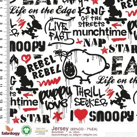 Snoopy Jersey Gots certifica graffiti Rebel White Black
