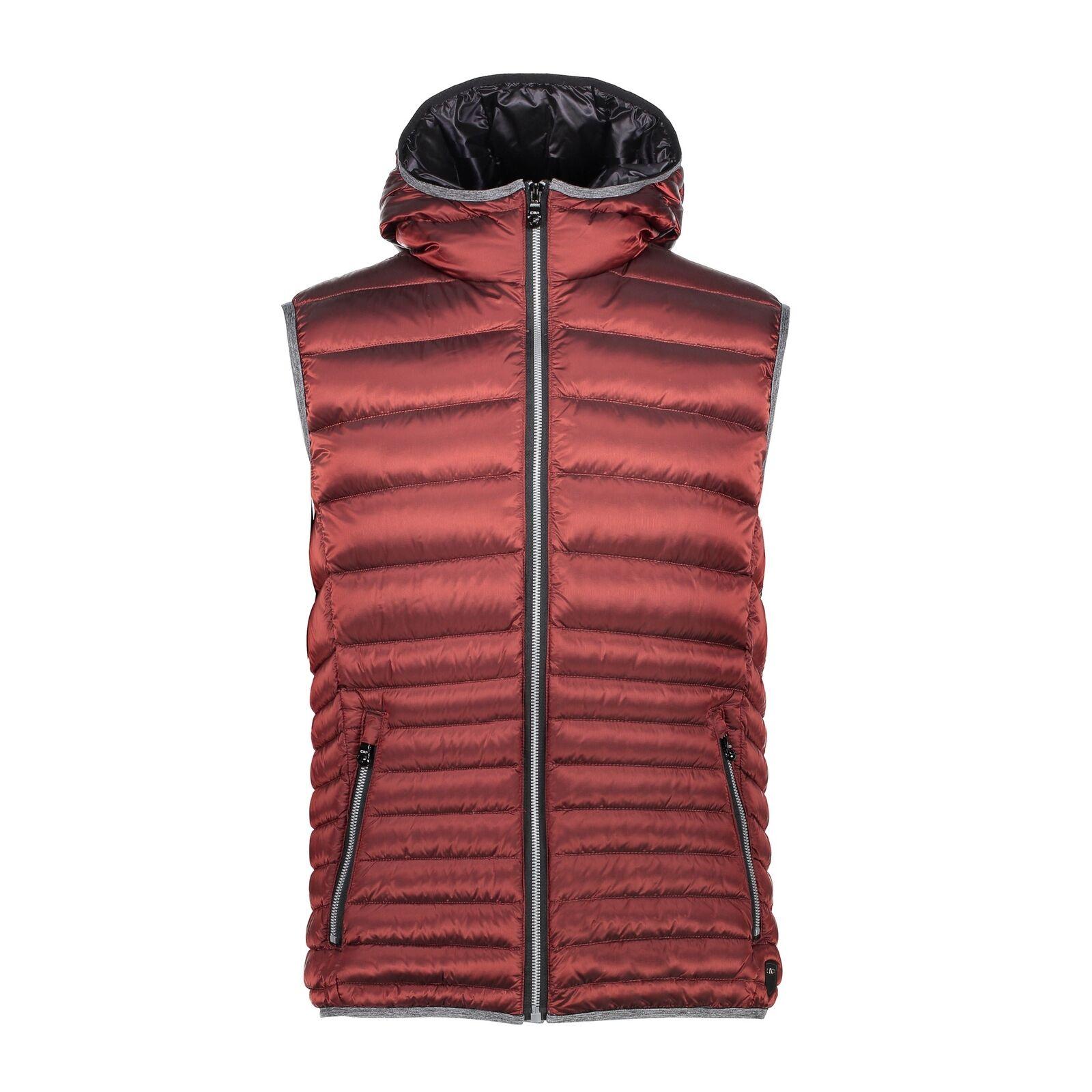 CMP Down Waistcoat Vest One Vest Zip  Hood Red Windproof Water Repellent  a lot of surprises