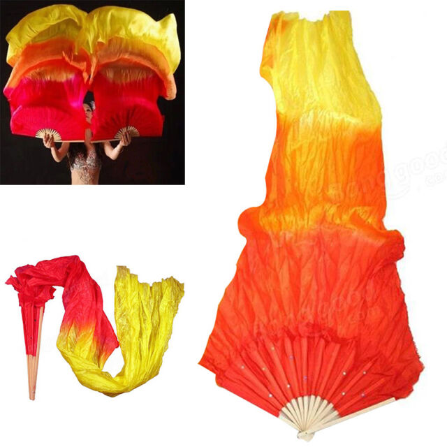 Colorful Silk Veil Folk Art Chinese Belly Dance Dancing Bamboo Short Fans Veils