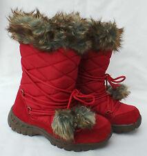 Girls Childrens Red NEXT snow boots fleece  lined Uk 2 EU 34 faux fur