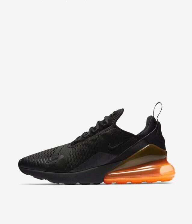 Nike Air Max 270 noir Total Orange AH8050-008 w/Receipt Taille 11.5