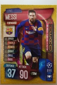 2019/20 Match Attax Soccer Card - Lionel Messi Hattrick Hero Barcelona