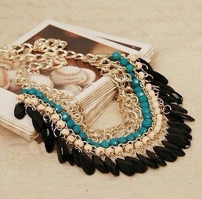 Fashion Resin Beads Pendant Chain Crystal Choker Chunky Statement Bib Necklace